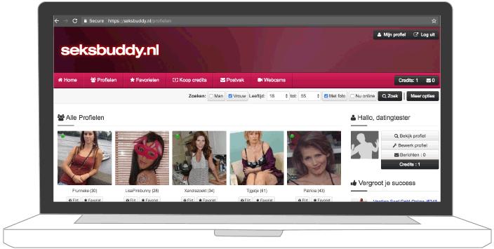 ledenoverzicht pagina van seksbuddy